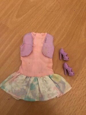 Barbie Doll Clothes Pastel Dress, And Purple Shoes