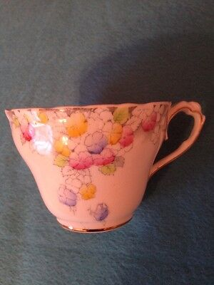 Vintage Paragon Bone China Cup with Yellow, Blue, Pink Flowers Art Deco Style