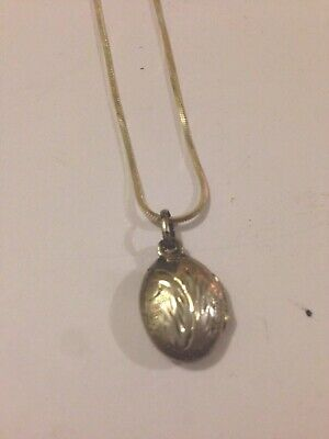 Sterling Silver 925 Oval Engrave Double Locket Pendant And Chain