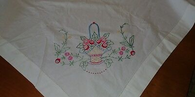 Vintage Heavy White Linen Embroidered Basket/Flowers Tablecloth