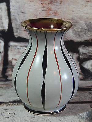 Vintage hand painted enameled vase with gold leaf finish signed & numbered 180/0