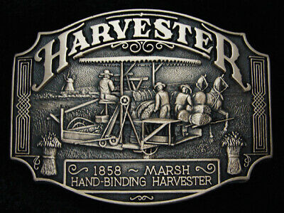 QD09150 *NOS* VINTAGE 1980s **HARVESTER** COMMEMORATIVE SOLID BRASS BELT BUCKLE