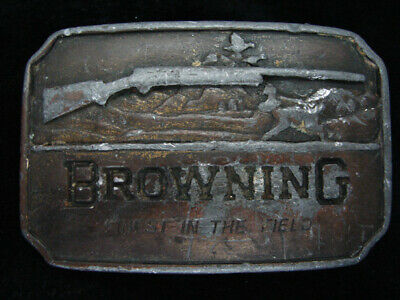 QD09123 VINTAGE 1970s **BROWNING FINEST IN THE FIELD** GUN & HUNTING BELT BUCKLE