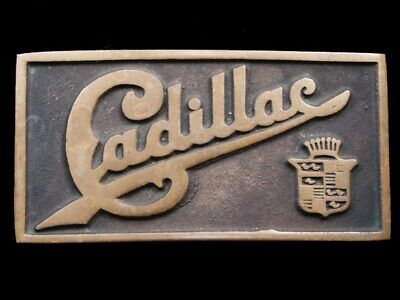 RJ07168 VINTAGE 1970s **CADDY** CAR LOGO ADVERTISEMENT SOLID BRASS BELT BUCKLE