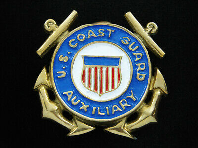 RI09123 *NOS* VINTAGE 1970s **U.S. COAST GUARD AUXILIARY** SOLID BRASS BUCKLE
