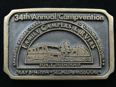 RE01113 VINTAGE 1970s **34TH ANNUAL CAMPVENTION** SOLID BRONZE BELT BUCKLE