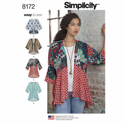 Simplicity Sewing Pattern 8172 Misses 4-26 Fashion Kimonos Length Fabric Var