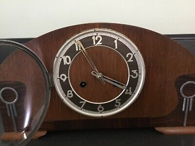 Classic Antique Art Deco Ting Tang Strike  Mantel Clock Chrome,oak,rosewood Case