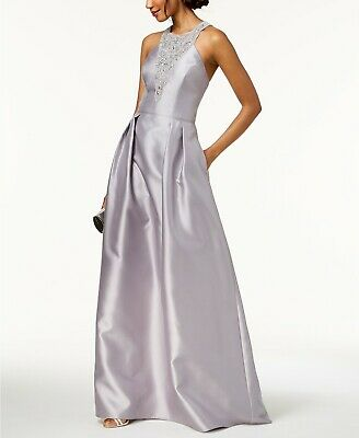 $380 Adrianna Papell Women'S Gray Embellished Halter Gown Formal Dress Size 14
