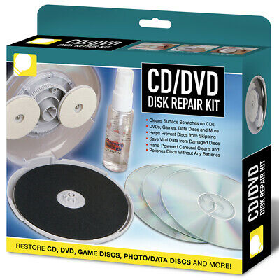Disc Repair Kit CD DVD With Cleaning Solution Fix Damaged Disks