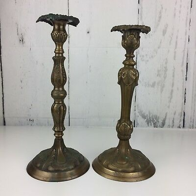 Pair of Large Brass Candle Holders Floral Ornate Patina India Felted Bottom VTG
