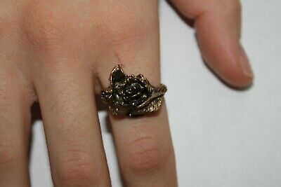 Woman Vintage Fashion Flower Rose Ring Brass Band Jewelry Women's