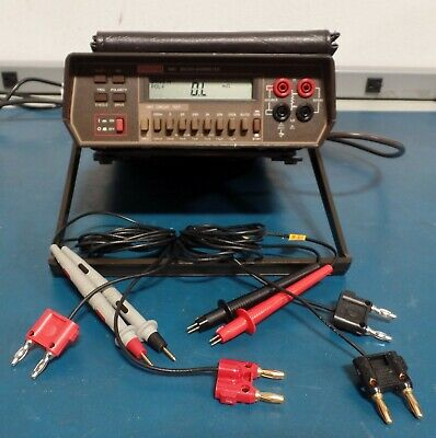 Keithley 580 Micro-ohmmeter with regular and  Kelvin leads.