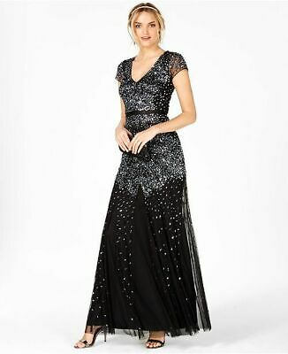 $499 Adrianna Papell Women'S Black Sequined Cap-Sleeve Mermaid Gown Dress Size 6