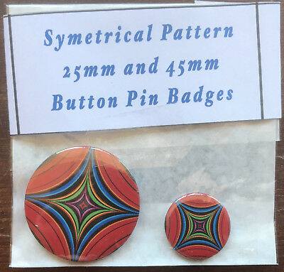 SYMETRICAL PATTERN Pair of Round Button Pin Badges 25mm & 45mm - Novelty Fun Art