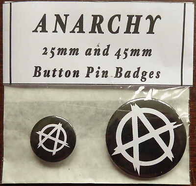 ANARCHY Pair of Round Button Pin Badges 25mm & 45mm White image black background