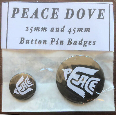 PEACE DOVE Pair of Black & White Round Button Pin Badges 25mm & 45mm