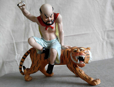 Chinese Figurine Man w/Tiger Statue Hand Painted Porcelain