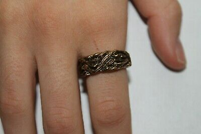 Woman Vintage Fashion Embroidered Woven Fantasy Ring Brass Band Jewelry Women