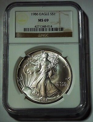 1986 Silver American Eagle NGC MS-69