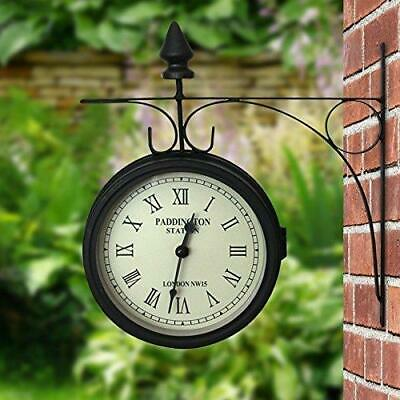 Paddington Station Outdoor Wall Clock 15Cm Garden Outside Bracket Double Sided
