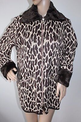 Vintage Medici By Gill Harvey Animal Print Jacket With Fur Trim Size Uk 10  Vgc