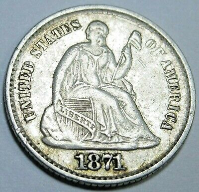 1871-P AU-BU US Seated Liberty Half Dime 5 Cent Antique Old U.S. Silver Coin