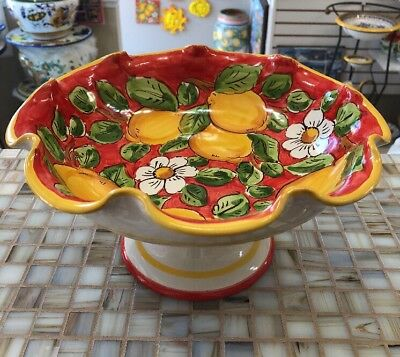 Vietri Pottery-10 Inch Bowl With Pedestal lemon.Made/Painted by hand in Italy