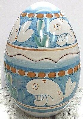 Vietri Pottery- 8in. Canister(WHALE) Chicken campagna.Made/Painted by hand-Italy