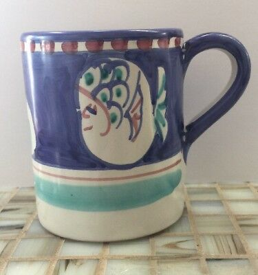 Vietri Pottery-4in. Mug Fish (Chicken campagna)Made/Painted byhand-Italy NEW