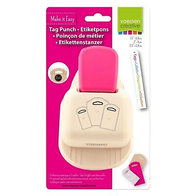"Vaessen Craft 3-in-1 Hang Tag Top Punch 1.5 in , 2 inch and 2.5"" cuts 3 sizes"