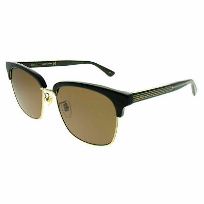 996e78d030 New Gucci GG0382S 002 Black Gold Plastic Square Sunglasses Brown Lens