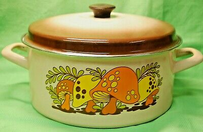 Vtg Enamel Merry Mushroom Pot Pan Dutch Oven Cookware Stock Retro 1960-70s