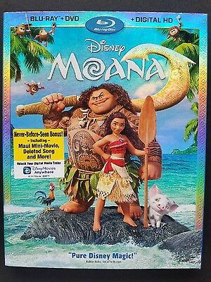 Disney Moana(Blu-Ray+Dvd+Digital Hd)No Slipcover Free Shipping