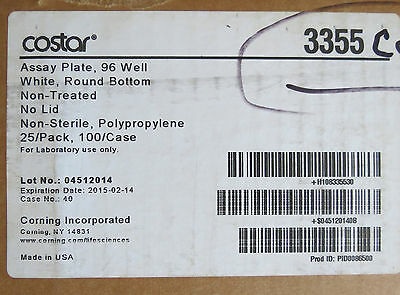 Case 100 Corning Costar White RB 96-Well Assay Plates # 3355