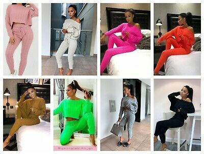 Womens Ladies Designer Co Ord Knit Loungewear Warm 2pc Set Comfy Cable Knitted
