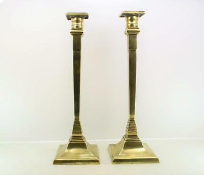 Antique German Candlesticks  Arts & Crafts Brass Mission design 30 cm x 9 cm