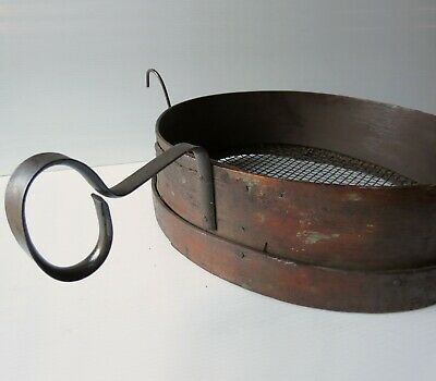 """Large 14"""" Primitive Bentwood Mesh Grain Sifter Antique Sieve with iron handle"""