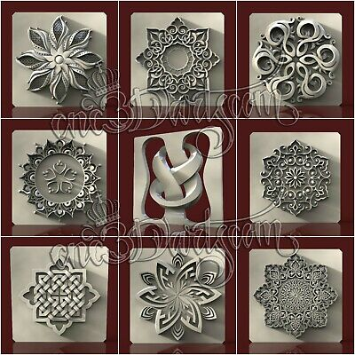 9 3D STL Models Wall Panels for CNC Router Carving Machine Relief Artcam aspire