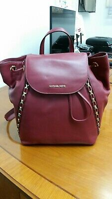 2918ed34282c MICHAEL KORS Sadie Md Backpack Handbag Mulberry Burgundy Wine Red Leather  NWT
