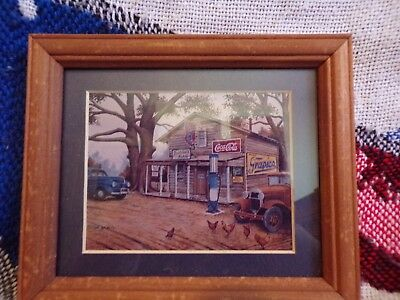 COCA COLA FRAMED MATTED ADVERTISING PRINT Bubbas's PLACE STORE signed A000