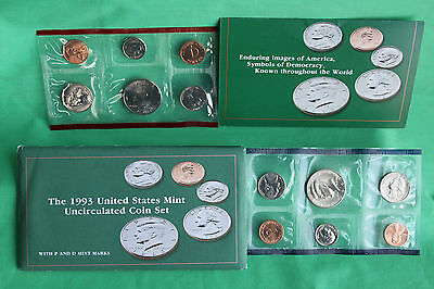 1993 P and D United States Mint Annual Uncirculated 10 Coin Set BU