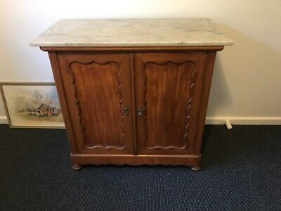 Antique Oak Cabinet with Marble Top