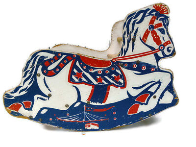 Vintage 1950s Wooden Child Rocking Horse With Seat Red, white, blue