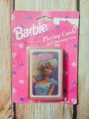 Vintage 1992 Mattel Barbie For Girls Playing Cards With Matching Case No. 2265