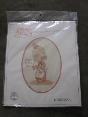 Rare 1978 Charles Craft counted cross stitch Precious moments Jesus is the light