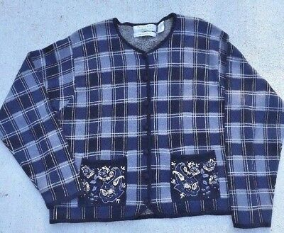 VTG Northern Isles Portraits Blue Plaid L Cardigan Sweater Hand Embroidered RARE