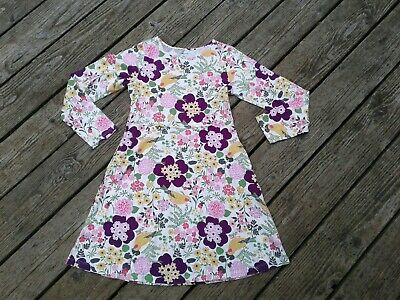 98202df23bee4 Lands End Girl Dress Sz 10-12 Cotton Bird Print longsleeve floral spring  stretch