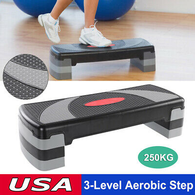 """Adjust 4"""" - 6"""" - 8"""" Fitness Aerobic Step 31'' Cardio  Exercise Stepper w/ Risers"""