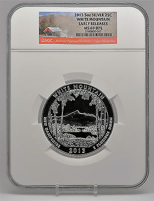 2013 5oz Silver 25C White Mountain NGC MS 69 DPL Early Releases beautiful!